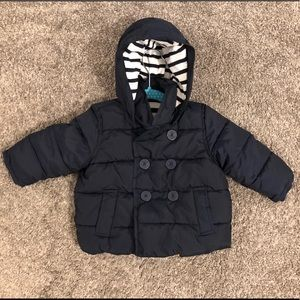 Used GAP Navy Blue Puffer Jacket 12-18 months
